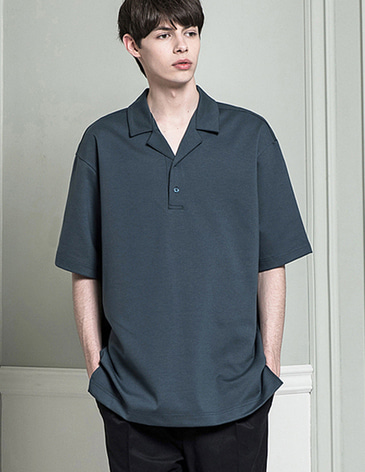 18SS OPEN COLLAR T-SHIRTS [GREY BLUE]