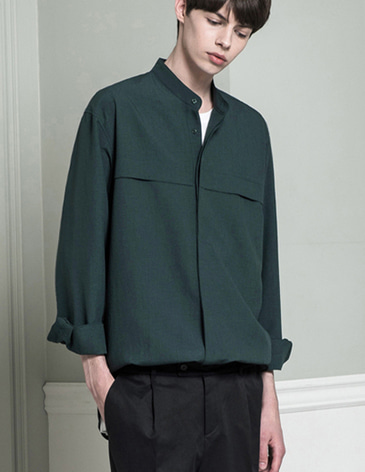 STAND COLLAR LINEN SHIRTS [GREEN]