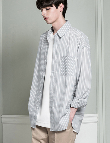 OVERSIZED STRIPE SHIRTS [L.GREY]
