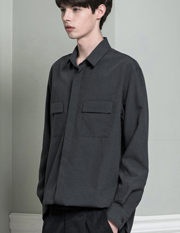 DOUBLE POCKET LINEN SHIRTS [GREY]