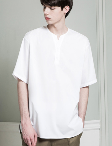 COLLARLESS PULLOVER SHIRTS [WHITE]