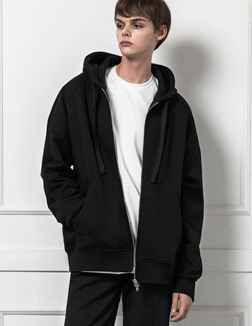 ESSENTIAL BASIC HOOD ZIPUP [BLACK]
