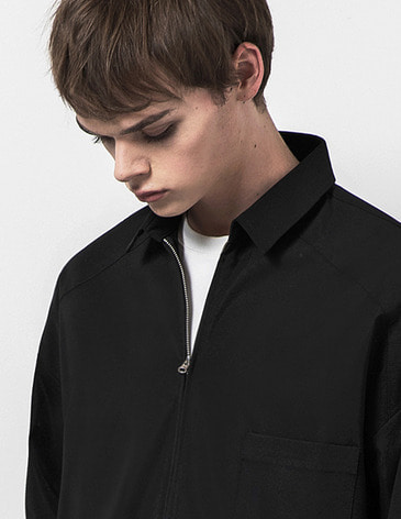 OVERSIZED ZIPUP SHIRTS [BLACK]