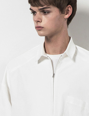 OVERSIZED ZIPUP SHIRTS [WHITE]