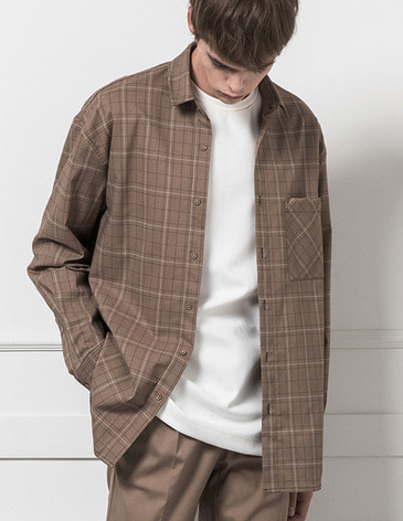 MODERN CHECK SHIRTS [LIGHT BROWN]
