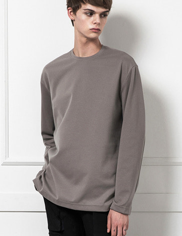 BASIC LONG SLEEVE T-SHIRTS [KHAKI BEIGE]