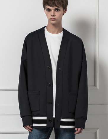 MULTICOLORBAND OVERFIT CARDIGAN [BLACK]