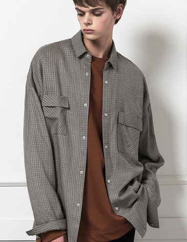 OVERSIZED SNAP SHIRTS [BLEND CHECK]