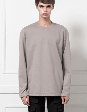 BASIC LONG SLEEVE T-SHIRTS [LIGHT GREY]