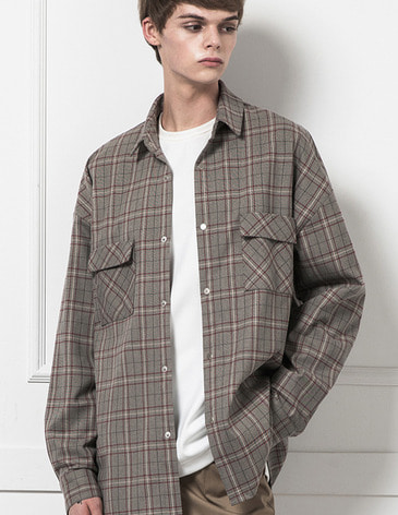 OVERSIZED SNAP SHIRTS [GREY CHECK]
