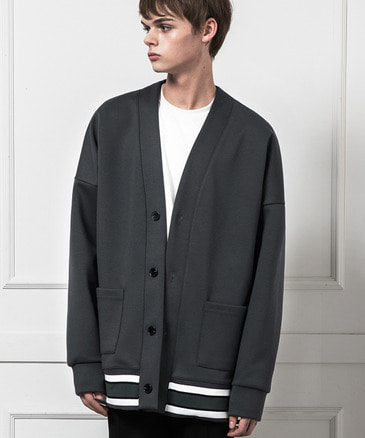 MULTICOLORBAND OVERFIT CARDIGAN [DEEP GREY]