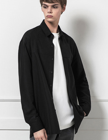 BASIC TENCEL SHIRTS [BLACK]