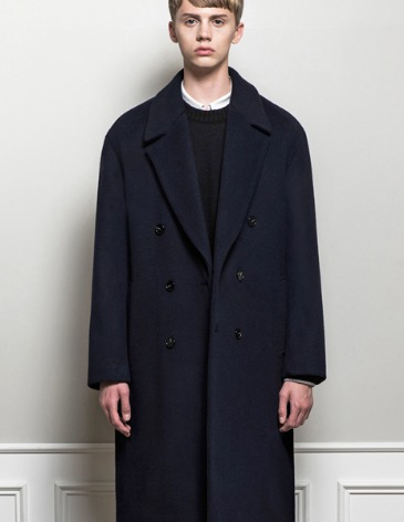CASHMERE ROBE DOUBLE COAT [NAVY]