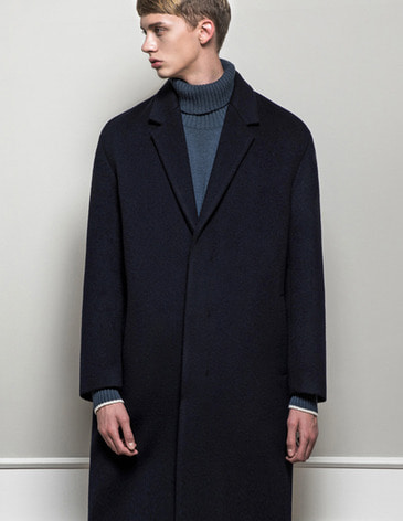 CASHMERE HIDDEN SINGLE COAT  [NAVY]
