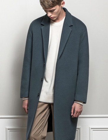 CASHMERE HIDDEN SINGLE COAT  [GREY BLUE]