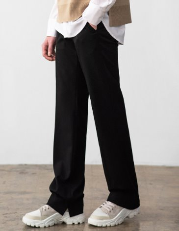 CONTEMPORARY WIDE SLIT SLACKS [BLACK]
