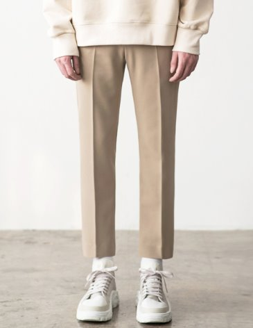 CONTEMPORARY SIDE BANDING SLACKS [L.BEIGE]