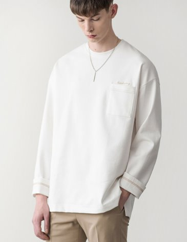 LONG SLEEVE OVERFIT POCKET T-SHIRT [WHITE]