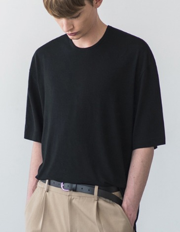 USUAL LOOSE FIT TENCEL T-SHIRT [BLACK]