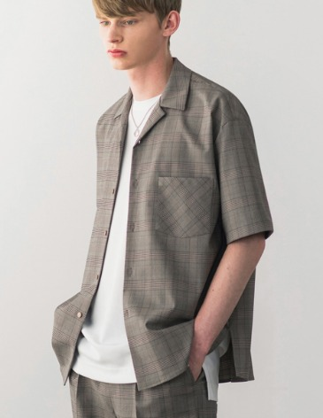 [RE-EDITION] GLEN CHECK OPEN COLLAR SHIRT