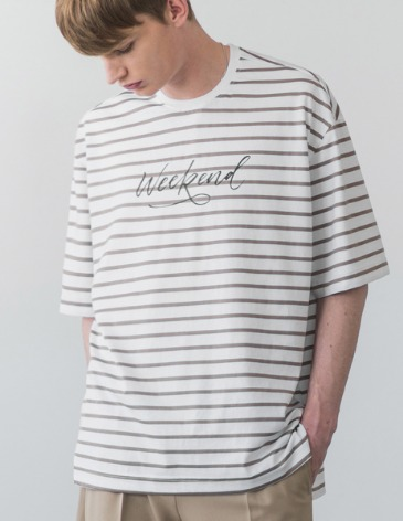 STRIPE WEEKEND T-SHIRT [WHITE]