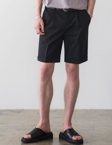 [RE-EDITION] TURNUP BANDING HALF PANTS [BLACK]