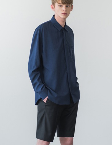 LINEN TEXTURED POCKET SHIRT [NAVY]