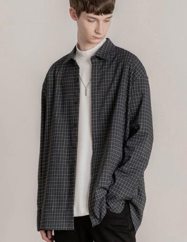 OVERSIZED HIDDEN MINIMAL CHECK SHIRT [NAVY]