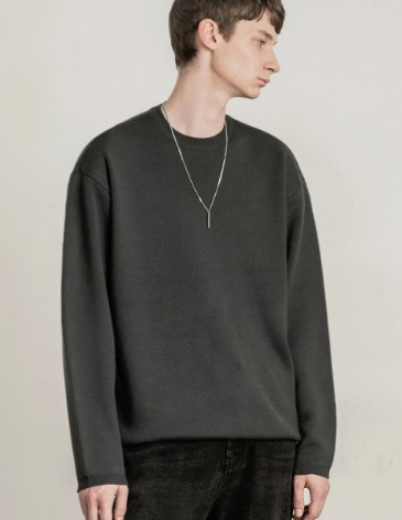 PREMIER EDITION WOOL CASH ROUND KNIT [CHARCOAL]