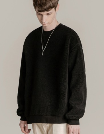 SHEARLING BOA SWEAT-SHIRT [BLACK]