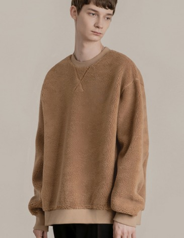 SHEARLING BOA SWEAT-SHIRT [BROWN]