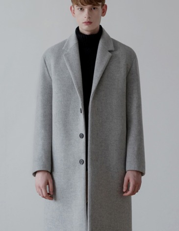 CASHMERE HIDDEN SINGLE COAT [M.GREY]
