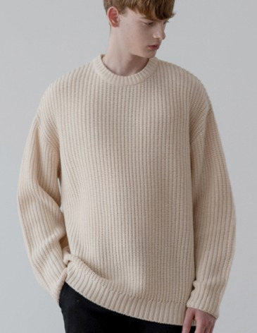 OVER-FIT TEXTURED ROUND KNIT [IVORY]