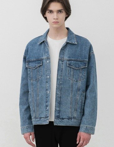 GARMENT WASHED HIDDEN DENIM JACKET [MIDDLE BLUE]
