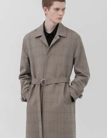CHECK BELTED SINGLE TRENCH COAT [BEIGE]