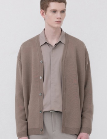 SOF WOOL MINIMAL LOOSE-FIT CARDIGAN [MOCHA]
