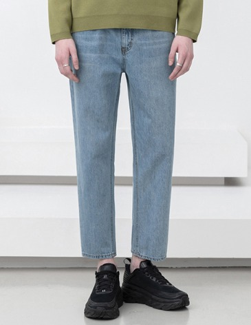 NEW-STRAIGHT DENIM PANTS [ASHED L.BLUE]