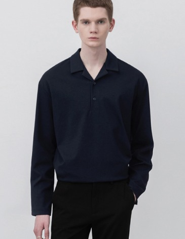 OPEN COLLAR LONG SLEEVE T-SHIRTS [D.NAVY]