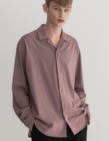 HIDDEN LOOSE-FIT OPEN COLLAR SHIRTS [DUSTY PINK]