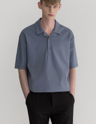 OPEN COLLAR T-SHIRT [INDI BLUE]