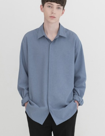LINEN HIDDEN MINIMAL SHIRT [SKY BLUE]