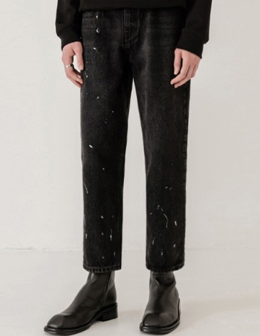 PAINTING STRAIGHT DENIM PANTS [BLACK]