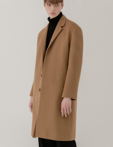 CASHMERE 20 HIDDEN SINGLE COAT [CAMEL]
