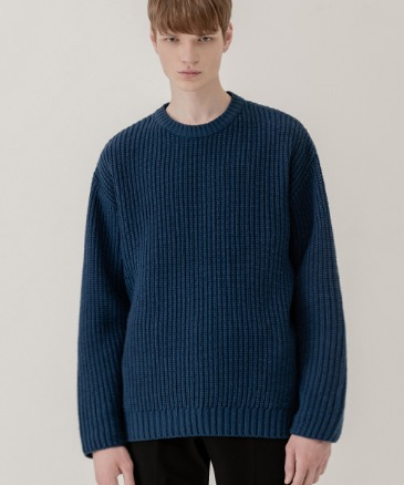 OVER-FIT TEXTURED ROUND KNIT [BLUE]