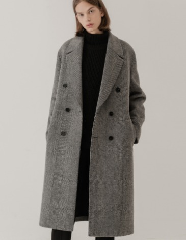 CHECK ROBE DOUBLE COAT [HERRINGBONE CHECK]