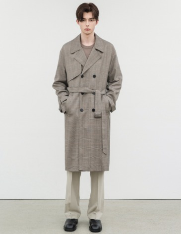 SHADE CHECK OVERSIZED TRENCH COAT [DUSTY BEIGE]