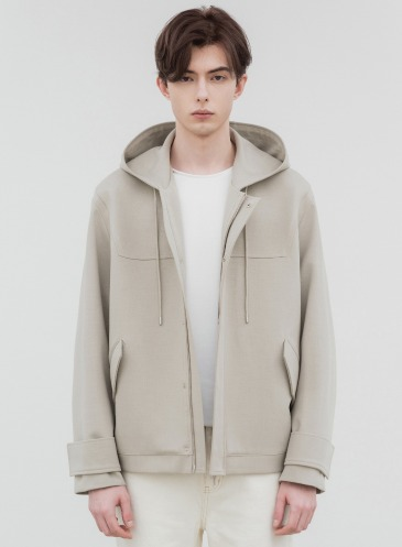RELAXED WOOL SHORT HOODIE JACKET [DUSTY CREAM]