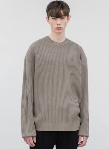 OVERSIZED RIBBED ROUND KNIT [GREIGE]