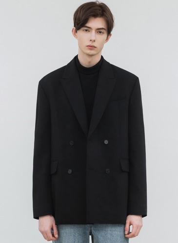 MODS WOOL OVERSIZED DOUBLE BLAZER [BLACK]