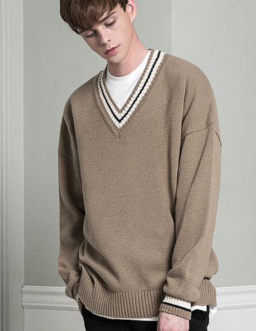 LAMBSWOOL OVERFIT V-NECK KNIT [BEIGE]